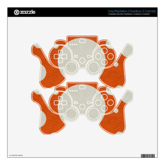 Orange Scattered Spots on Stone Leather print PS3 Controller Skins