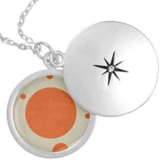 Orange Scattered Spots on Stone Leather print Silver Plated Necklace