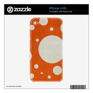 Orange Scattered Spots on Stone Leather print Skin For The iPhone 4S