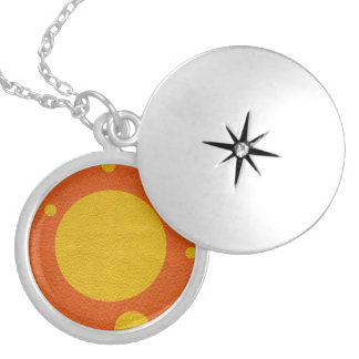 Orange Scattered Spots on Yellow Leather Texture Silver Plated Necklace