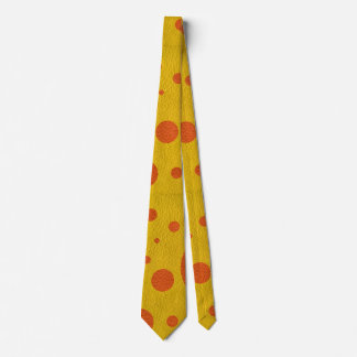 Orange Scattered Spots on Yellow Leather Texture Tie