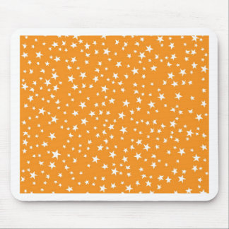 Orange Scattered Stars Mouse Pad