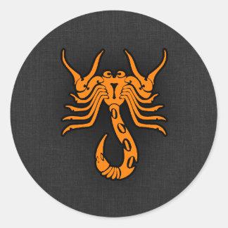 Orange Scorpio Classic Round Sticker