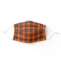 Orange Scotch Plaid Monogram Cloth Face Mask Cover