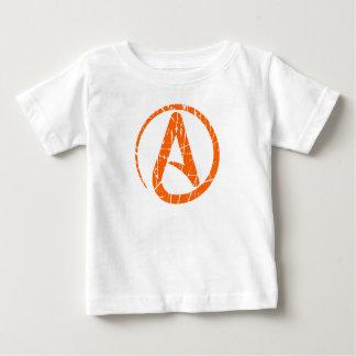 Orange Scratched and Worn Atheist Atheism Symbol T-shirt