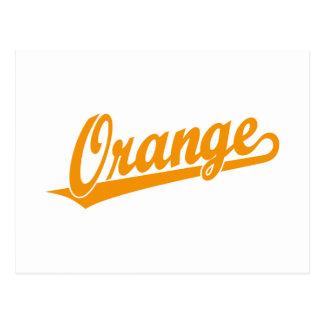 Orange script logo in orange postcards