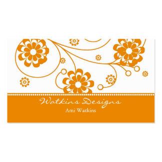 Orange Scroll Blooms Business Card