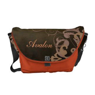 Orange Scroll Damask Name Brown Messenger Bag