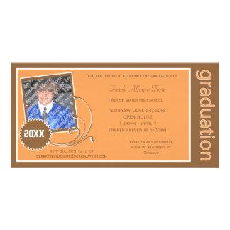 Orange Scroll Graduation Photo Invitation Photo Card