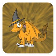Orange SD Furry Dragon w/ Witch's Hat 2 Square Stickers