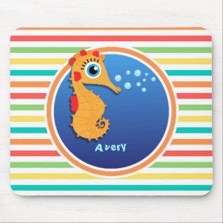 Orange Seahorse; Bright Rainbow Stripes Mousepad