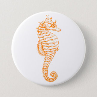 Orange Seahorse Button