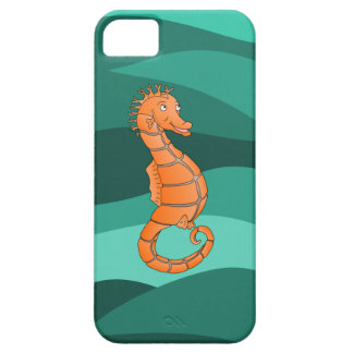 Orange seahorse in the swirling green sea iPhone SE/5/5s case