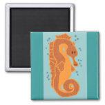 Orange Seahorse magnet
