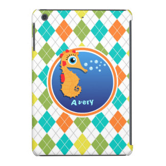 Orange Seahorse on Colorful Argyle Pattern iPad Mini Cover