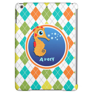 Orange Seahorse on Colorful Argyle Pattern iPad Air Cases