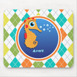 Orange Seahorse on Colorful Argyle Pattern Mousepads