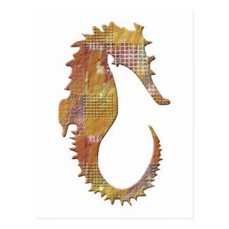 Orange Seahorse Postcard