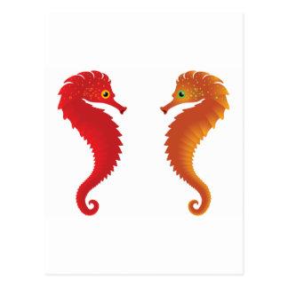 orange seahorses postcard