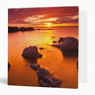 Orange seascape, sunset, California 3 Ring Binder