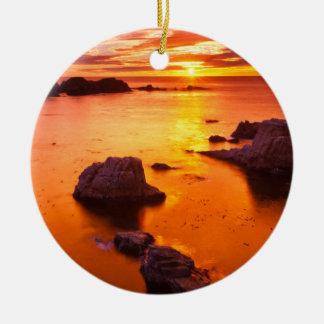 Orange seascape, sunset, California Ceramic Ornament