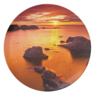 Orange seascape, sunset, California Melamine Plate