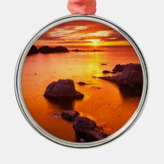Orange seascape, sunset, California Metal Ornament