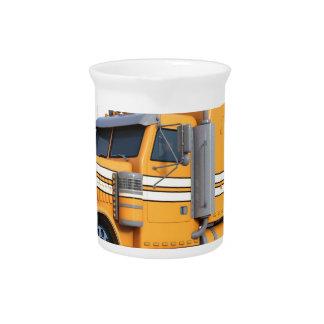 Orange Semi Tractor Trailer Drink Pitcher