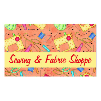 Orange Sewing Notions Art Fabric Store Double-Sided Standard Business Cards (Pack Of 100)