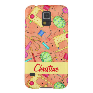 Orange Sewing Notions Art Name Personalized Galaxy S5 Cover