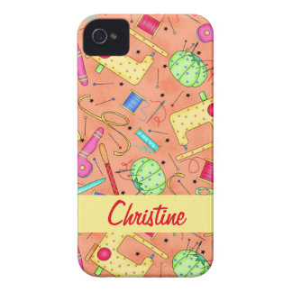 Orange Sewing Notions Art Name Personalized iPhone 4 Cover