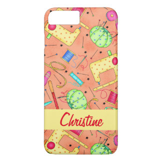 Orange Sewing Notions Art Name Personalized iPhone 8 Plus/7 Plus Case