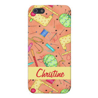 Orange Sewing Notions Art Name Personalized iPhone SE/5/5s Case
