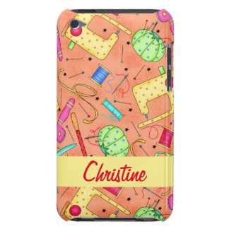 Orange Sewing Notions Art Name Personalized iPod Case-Mate Case