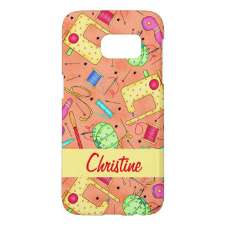 Orange Sewing Notions Art Name Personalized Samsung Galaxy S7 Case