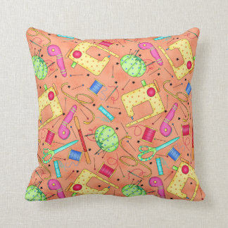 Orange Sewing Notions Decorative Pillow