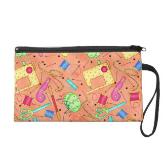 Orange Sewing Notions Wristlet Clutch
