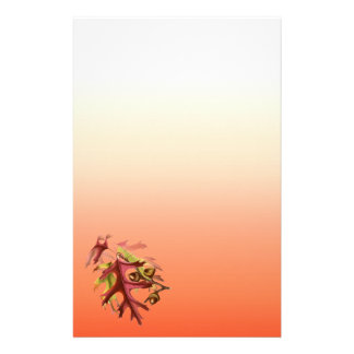 Orange Shades Deep Red Fall Leaves Scrapbook Stationery