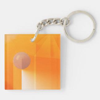 Orange Shadows Abstract Keychain