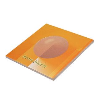 Orange Shadows with Customizable Text Ceramic Tile