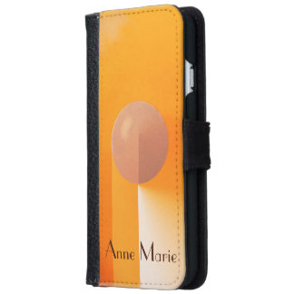 Orange Shadows with Customizable Text iPhone 6 Wallet Case