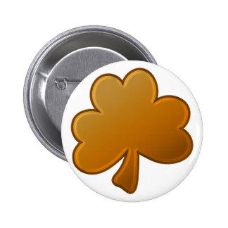 Orange Shamrock Pinback Button