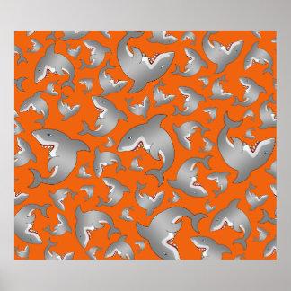 Orange shark pattern poster