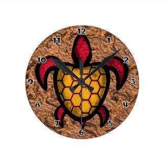 Orange Shell Turtle Round Wall Clock