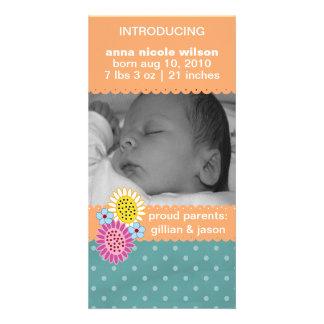 Orange Sherbert Birth Announcement Photo Card