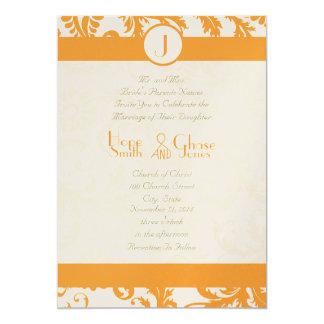 Orange Sherbert Damask Monogram Wedding Invitation