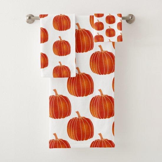 Orange Shiny Cute Fall Halloween Autumn Pumpkins Bath Towel Set