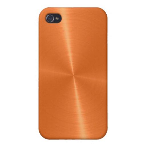 Orange Shiny Stainless Steel Metal 2 iPhone 4/4S Case