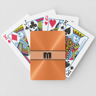 Orange Shiny Stainless Steel Metal 4 Bicycle Playing Cards