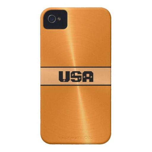 Orange Shiny Stainless Steel Metal 5 iPhone 4 Case